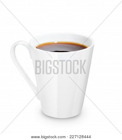 White Mug With Tea Or Coffee Isolated On White Background. Clipping Path. Blank Cup With Space For B