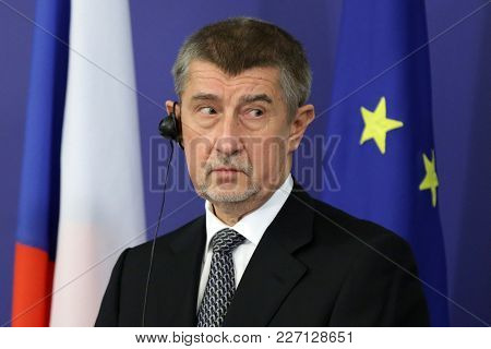 Sofia, Bulgaria - 22 January 2018: Czech Prime Minister Andrej Babis Speaks At A Press Conference Af