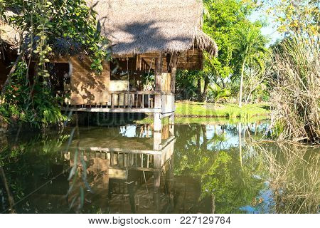 Tropical Style Cool Design Room Of Home Built Over Pond