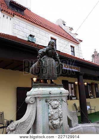 Poznan, Poland - December 02, 2017: Sculpture In The Center Of The Old Town In Poznan