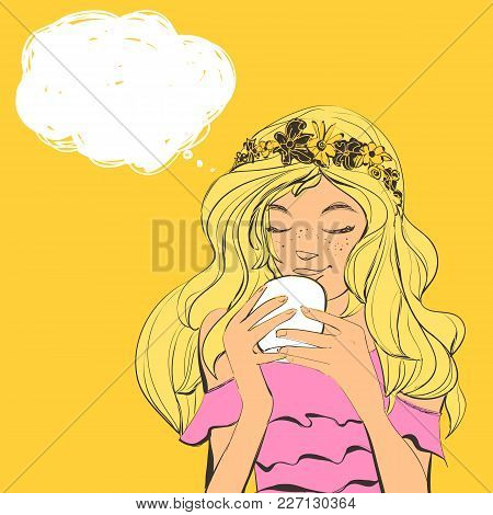 Vector Beautiful Young Woman With Freckles And Flowers Diadem On Curly Hair Drinking Tea Or Coffee.