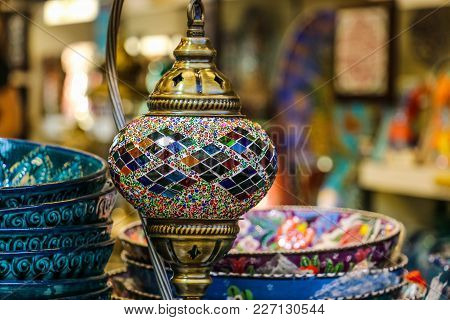 Traditional Bright Decorative Hanging Turkish Lamps And Colourful Lights With Vivid Colours  In The