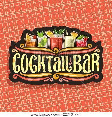 Vector Logo For Cocktail Bar, Vintage Black Signboard With 5 Colorful Refreshing Mocktails And Origi