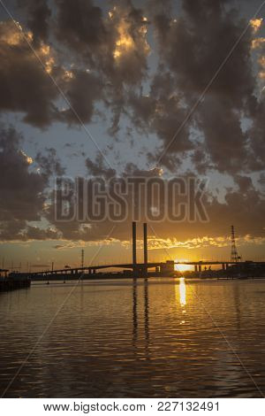 Melbourne Australia Docklands Sunset By the Yarra River