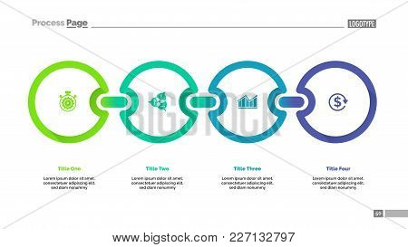 Four Circles Process Chart. Graph, Infographic, Slide Template. Business Concept. Can Be Used For To
