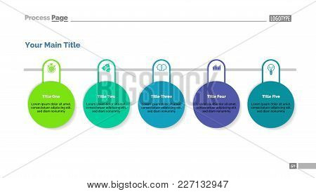 Process Chart With Five Circles. Inforchart, Workflow, Strategy. Information Concept. Can Be Used Fo