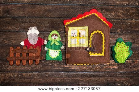 Felt Toys Story Fairy Tale. Handmade Felt Toys Over Wooden Rustic Background.