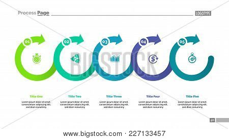 Timeline Chart Template Five Circles. Process Chart, Development, Strategy. Management Concept. Can