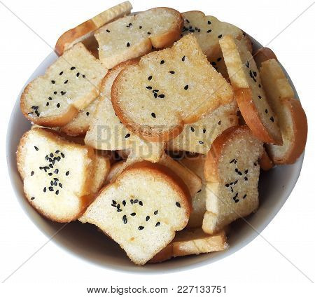 Crispy Sugar And Butter Bread Sprinkle With Sugar And Black Sesame