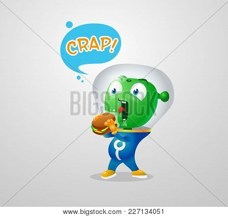 A Green Martian Can Not Eat A Sandwich Through A Suit Glass, Hungry Green Alien Sticker