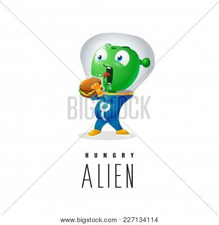 A Green Martian Can Not Eat A Sandwich Through A Suit Glass, Hungry Green Alien Logo