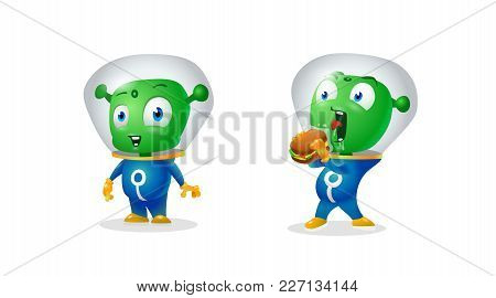 A Green Martians, Alien Can Not Eat A Sandwich Through A Suit Glass, Funny Characters