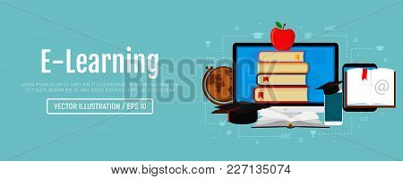 Web Banner Of Education And E-learning. Education And E-learning Concept. Vector Illustration, Flat