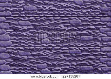 Imitation Stone Wall Of Cement - Close-up - (photo Is Toned In Ultra Violet)