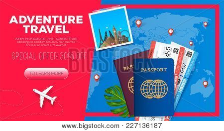 Adventure Travel Banner. Business Trip. Passport With Tickets.  Business Travel Illustration. 30% Of