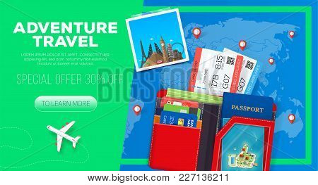 Adventure Travel Banner. Business Trip. Passport With Wallet And Tickets.  Business Travel Illustrat