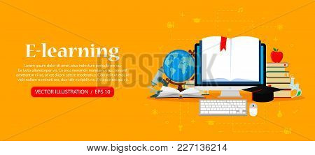 Education And Online Learning Concepts. Online Training Courses, Distance Training, E-learning. Web