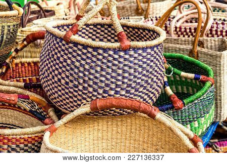 Handmade Shopping Baskets Selection In Different Colors