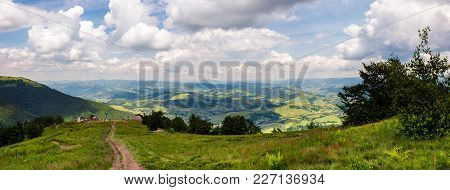 Panorama Of Beautiful Landscape In Mountains. Gorgeous View From Borzhava Mountain Ridge. Road Down