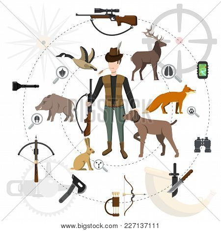 Hunting Icon Set, Animals And Hunter With A Gun, Accessories
