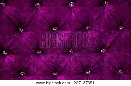 Dark Purple Diamond Pattern Velvet Upholstery Background. Beautiful Luxury Fabric Texture With Butto