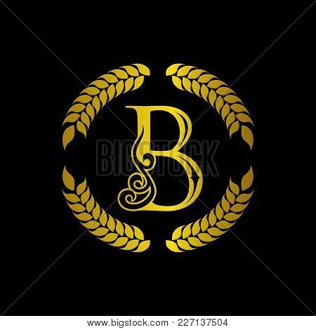 The Monogram A Letter B In An Elegant Frame. B Golden Template For Cafe Bars Boutiques Invitations.