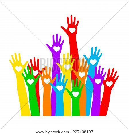 Hand Icon With The Heart. Colored Hands Vector. Iridescent Hand With Heart On Palm, Isolated On Whit