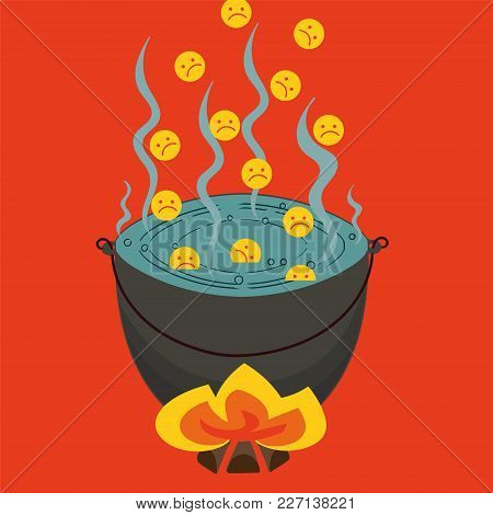 Sad Smiley Fall Into A Hellish Cauldron Vector Image Of A Fantasy Story About The Sinners Boiling In