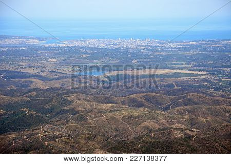 Elevated View Across The Monchique Mountains And Countryside With Views Towards The Ocean, Monchique