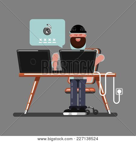 Hacker Hacked Somewones Personal Information. Vector Illustration, Eps 10