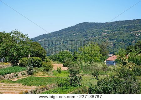View Of The Mountains And Countryside In The Monchique Mountains With A Small Farm In The Foreground