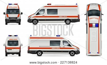 Ambulance Car Vector Mock-up. Isolated Template Of Medical Van On White. Vehicle Branding Mockup. Si