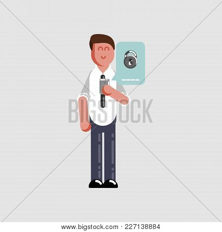 Man Personal Information Under Protection. Vector Illustration, Eps 10