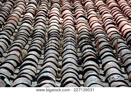 Traditional Portuguese Tiled Roof In The Old Town, Monchique, Algarve, Portugal, Europe.