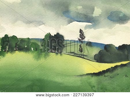 Sunny Ladscape With Hills. Original Watercolor Painting On Paper. Hand Drawing Illustration.