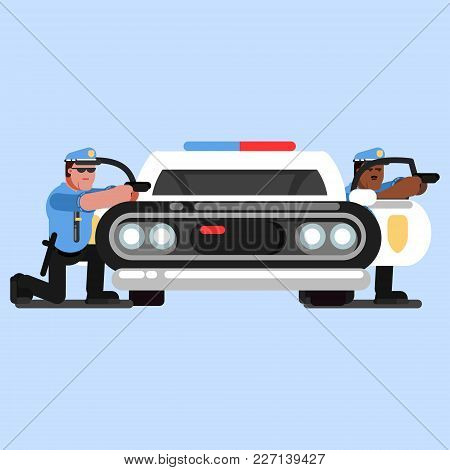 Police Officers Embattled Near Car That Stands Front. Vector Illustration, Eps 10