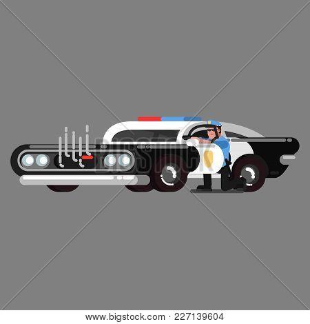Police Officer Embattled Near Car That Is Damaged. Vector Illustration, Eps 10