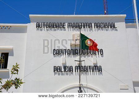 Portimao, Portugal - June 7, 2017 - Front View Of The Maritime Police Building, Portimao, Algarve, P