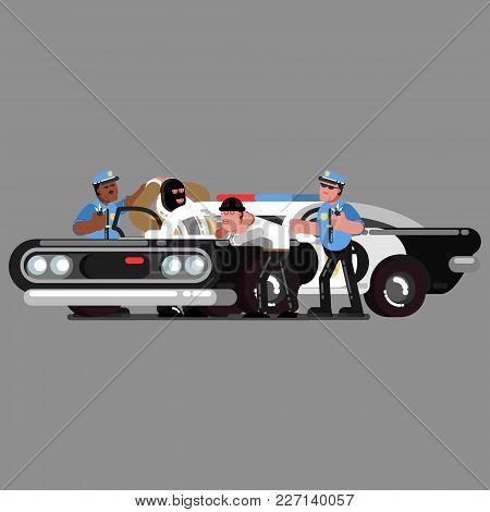 Police Officers Apprehend Criminals Near Car. Vector Illustration, Eps 10