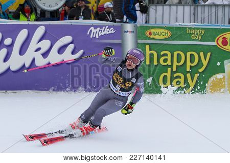 Tessa Worley Jubilant At Fis Ski World Cup Giant Slalom In Kranjska Gora On The 6th Of January 2018
