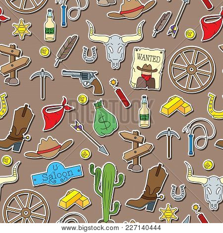 Seamless Pattern On The Theme Of The Wild West, Sticker Icons  On Brown Background