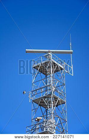 Ponta Da Piedade - June 8 2017 - Radar Mast Against A Blue Sky, Ponta Da Piedade, Algarve, Portugal,