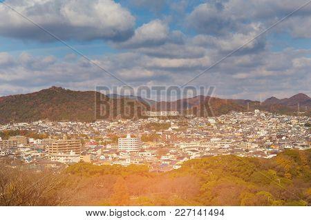 Cityscape Crowded Residence Area Mountain Around, Japan Autumn Season