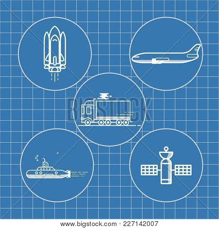 An Illustration Of A Drawing Depicting An Airplane, Shuttle, Satellite, Submarine, Truck