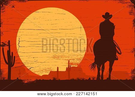 Silhouette Of Cowboy Riding Horses At Sunset, Vector