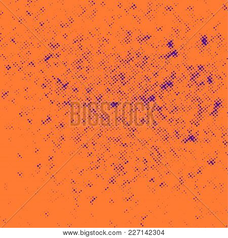 Bright Orange Background With Vintage Purple Dotted Pattern. Vector Illustration