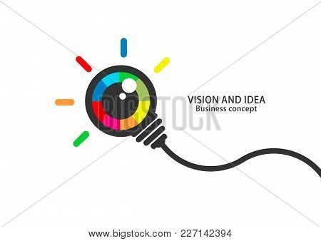 Vision And Idea. Colorful Eye Bulb Sign Business Concept. Flat Vector.