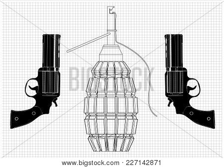 Grenade And Two Pistols On A White Background