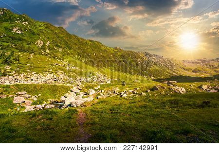 Beautiful Valley Of Fagaras Mountains. Small Brook Flow Among The Rocks. Grassy Slopes With Huge Bou