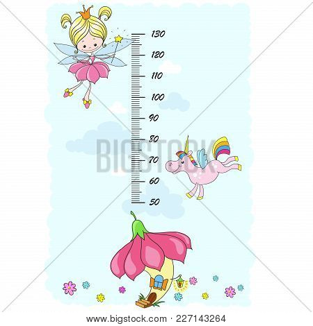 Stadiometer For Children. Fairy Tale Characters. Fairy, Unicorn, Clouds On A Blue Background. Vector